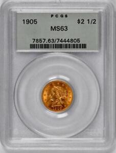 1905 $2.50 Gold Liberty Quarter Eagle  : PCGS MS63  OGH