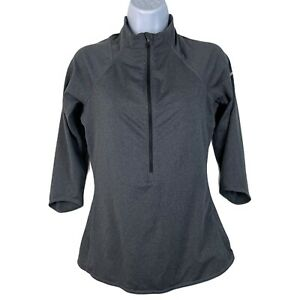 Nike Women's Small Athletic Top 1/2 Zip Gray 3/4 Sleeve Dri Fit Athleisure