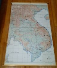 mid century Southeast Asia Military Briefing Map L307 Denoyer Wall School Large