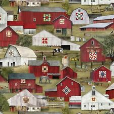 Headin' Home Fabric #4706 Amish Red Quilt Barn Farm Quilt Shop Quality Cotton