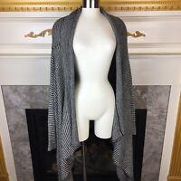 ALISON SHERI Womens S Black White Striped Asymmetric Hem Open Cardigan Sweater