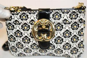 Emma Fox NEW Black & White Floral Printed Mini Convertible Crossbody Purse Bag