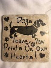 Unusual Handmade Stone Tile Coaster/Animal/Dogs Leave Paw Prints//Ideal gifts