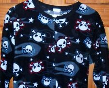 Cherokee Skulls Crossbones Skeleton Footed Pajamas Costume Black L 1 PC LASTONE