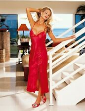 Shirley of Hollywood Women Size 8-10 Red Satin Nightdress Designer Lingerie