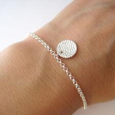 Bracelet breloque pastille martelée en argent massif 925 BR154