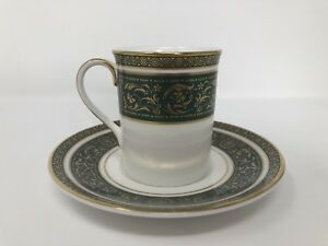 Royal Doulton 'Vanborough' Green Coffee Can & Saucer - 1st Quality