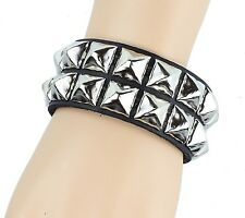 Double Row Silver Pyramid Stud Leather Bracelet Punk Gothic Thrash Metal