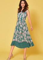 Versatile Viscose Full Skirt Summer Dress with Split side detail and Tie Belt