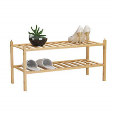 Bamfox 2-Tier Shoe Rack,Bamboo Stackable Shoe Storage Organizer Unit Entryway in