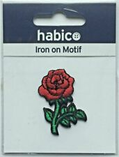 Habico Red Rose Flower Iron on Motif Patch Child or Adult Embellishment