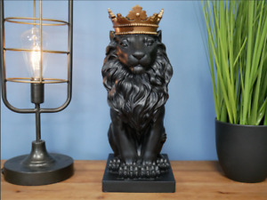 New Stunning Black Lion with Kings Crown, Black Lion Ornament with Crown