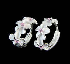 STERLING SILVER 925 HAWAIIAN 8MM 3 PLUMERIA FLOWER HOOP EARRINGS PINK CZ