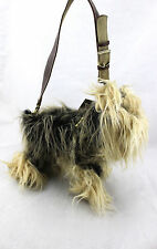 LOVE ON A LEASH Teacup Yorkshire Terrier Doggie Puppy Fur Purse Bag New