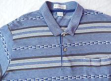 80s Vtg Striped Short Sleeve Polo Golf Shirt - Mens Large Blue L Retro Cool
