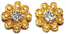 VINTAGE STUNNING GOLD TONE FLORAL CRYSTAL FLOWER CLIP ON EARRINGS~SIGNED: CAPRI