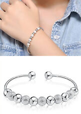 Fashion Charm Womens Lucky Silver Plated Beads Cuff Bracelet Bangle Jewelry Gift
