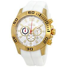 Invicta Pro Diver Chronograph Silver Sunray Dial White Silicone Mens Watch 20298