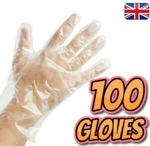 100 Disposable Plastic PE Polyethene Gloves (Food Safe) Non-Vinyl/PU/Latex