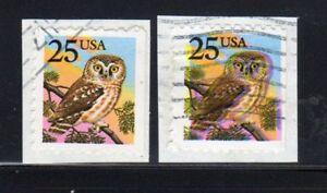 1988 US SC 2285 Owl 25c - Owl Misregstered EFO Error - Used on Piece