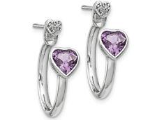 Стерлинговое серебро розовый аметист сердце пост обруч серьги 1.40 кар (Ctw)