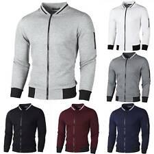Men Grid Zip Up Jumper Cardigan Coat Winter Casual Bomber Jacket Fit Top Outwear