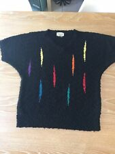 Vintage 80s Chunky Black Sweater With Vibrant Contrast Spears Dolman Sleeve Xl
