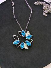 *UK* LADIES SEA BLUE CRYSTAL RHINESTONE SILVER FLOWER CIRCLE PENDANT NECKLACE