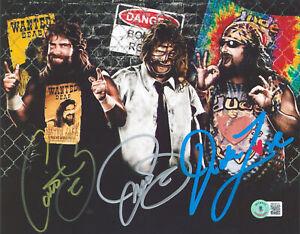 Mick Foley Cactus Jack, Mankind & Dude Love 3x Signed 8x10 Photo Autographed BAS