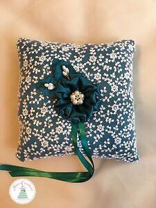 Handmade Ring Bearer Pillow in Dark Teal and White, Wedding Ring Pillow