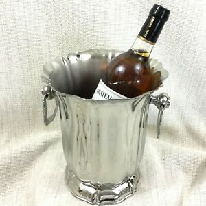 Vintage Champagne Bucket French Mirror Polished Steel Jean Couzon Wine Cooler