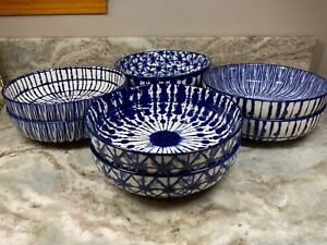 Large Dinner Pasta Bowls Cobalt Blue Tye Dye Pattern. Set Of 2. You Choose. New.