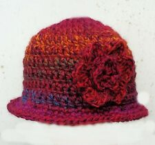CROCHETED BABY GIRL WINTER CLOCHE HAT gift photoprop knit flower winter 27 brim