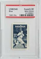 1983 20c Stamp PSE 98 Superb Mint OGnh Babe Ruth Yankees Scott #2046