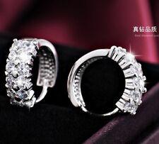 18K Real Blanco relleno de oro aro pendientes con doble fila de cristales de Swarovski