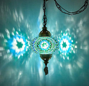 (8 Colors) DEMMEX Turkish Moroccan Mosaic Swag Plug in Pendant Ceiling Hanging L