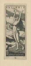 Ex libris Art Deco erotic Exlibris by KULHANEK STANISLAV /1885–1970/ Czech