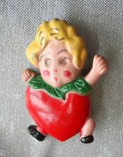 Super Cute Art Deco Strawberry Girl Early Plastic Brooch 1920s Vintage