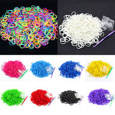 600PCS Rainbow Braided Rubber Bands Loom Refill DIY Bracelet Anklet Clips Kit