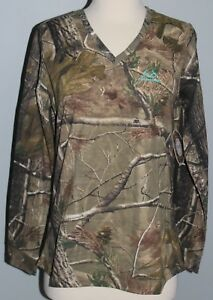 New Ladies REALTREE AP Camo Long Sleeve V-Neck T-Shirt Womens S M L 2XL Shirt