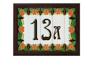 Italian 15cm x 4.8cm Orange Rose Ceramic House Number, Letters tiles & Frames