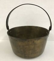 Antique Brass Cauldron/Jam Cooking Pot with Riveted Steel Heavy Handle