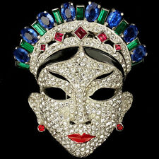 Mazer Pave Sapphire Ruby and Emerald Oriental Face Mask Pin Clip