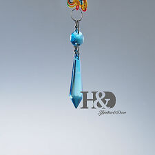 10 Large Blue Chandelier Glass Crystals Lamp Prisms Parts Hanging Drops Pendant