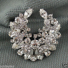 14k white Gold GF with Swarovski crystals solid brooch pin