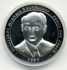 1990 GORBACHEV NOBEL PEACE PRIZE & REUNITED GERMANY OCTOBER 3 1990 Ag MEDAL