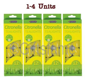 12-48 Citronella Tealight Tea Light Scented Candle Mosquito Fly Insect Repeller
