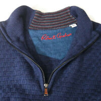 Robert Graham Mens Size Large 100% Wool Navy 1/4 Zip Knit Pullover Sweater EUC