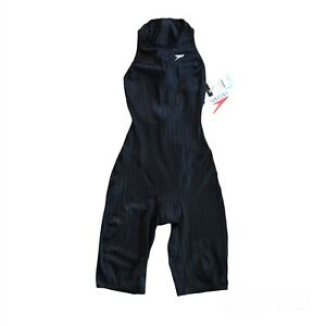 Women's Speedo Knee Length Racing Swim Suit Zip Back Size 28 USA Black New