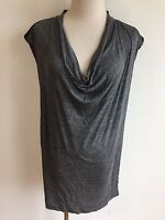 ZARA W&B Collection Cap Sleeve Cowl Neck Tunic Top Blouse Gray Heather Size M